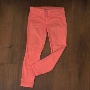 J Brand Coral Cropped Mid-rise Skinny Jeans